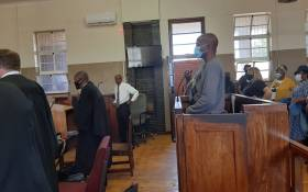 Sekola Matlaletsa and Sekwetje Mahlamba, two suspects accused of murdering Brendin Horner at the Senekal Magistrates court on 16 October 2020. Picture: Abigail Javier/EWN