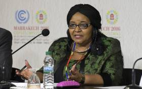 Minister of Environmental Affairs Edna Molewa attends a press conference at the COP22 climate conference on 17 November 2016 in Marrakesh. Picture: AFP
