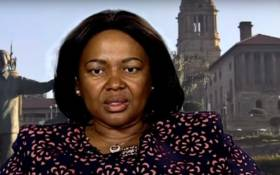 A screengrab of Mmamathe Makhekhe-Mokhuane during her interview with the SABC.