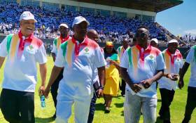 FILE: Leader of the United Democratic Movement Bantu Holomisa (centre) launched the party's manifesto in Nelson Mandela Bay on Saturday, 16 February 2019. Picture: @UDmRevolution/Twitter.