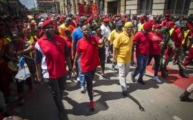 FILE: EFF leader Julius Malema, Floyd Shivambu, and other top EFF leaders march,backed by thousands, to the Union Buildings. Picture: Thomas Holder/EWN.