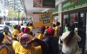 People from the Barcelona, Kanana and Europe informal settlements in Nyanga protesting outside the ANC Western Cape's Thibault Square office. Picture: Xolani Koyana/EWN