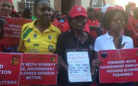 FILE: Workers protest as public sector unions seek to strike a wage deal on 19 May 2015. Picture: EWN