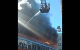 A warehouse was on fire in Brickfield Road in Durban on 10 May 2021. Picture: Screengrab/Twitter.