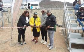 In images of government officials some in ANC regalia, a stadium made up of one medium sized bleacher is being opened. Picture: Twitter