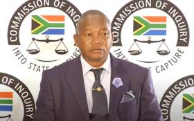 Inspector General of Intelligence Setlhomamaru Dintwe appearing at the state capture inquiry on 12 May 2021. Picture: SABC/YouTube