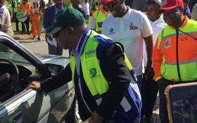 Transport Minister Blade Nzimande at the Easter Road Safety enforcement activation on the N1 North in Pretoria on 18 April 2019. Picture: @DoTransport/Twitter