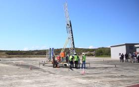 Planted on a launch pad at the Overberg Denel test range outside Arniston, the Phoenix 1B sounding Rocket appeared ready takeoff. Picture: Bertram Malgas