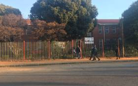 Pupils outside Forest High School after one of them was stabbed to death. Picture: Robinson Nqola/EWN.