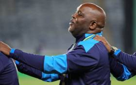 Pitso Mosimane celebrates winning the 2019/2020 Nedbank Cup title with Mamelodi Sundowns. Picture: @Masandawana/Twitter