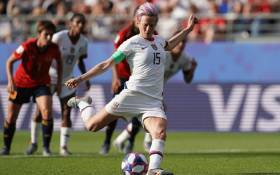 United States' forward Megan Rapinoe scores a goal during the France 2019 Women's World Cup round of sixteen football match between Spain and USA, on 24 June, 2019, at the Auguste-Delaune stadium in Reims, northern France. Picture: AFP.
