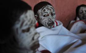 This file picture taken on 20 November 2008 of young boys from the Xhosa tribe attending a traditional initiation school in Libode in the Eastern Cape province. Picture: AFP.