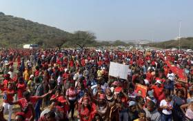 EFF members gathering in Phoenix, north of Durban. They're staging demonstrations after at least 36 people were killed in this community during last week's civil unrest. Picture: Nkosikhona Duma/Eyewitness News.