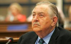 Former Foreign Affairs Pik Botha during a conference at the Council Chambers at the Civic Centre in Cape Town to commemorate the 20th Anniversary of FW de Klerk's speech in Parliament in which he announced Nelson Mandela's release from prison and opened the way to South Africa's constitutional transformation. Picture: Gallo Images/Foto24/Nasief Manie
