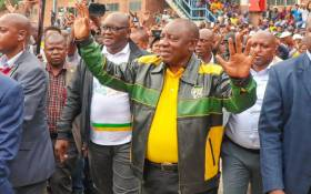 President Cyril Ramaphosa arrives in Alexandra on 11 April 2019 to meet disgruntled residents after a weeklong protest over crime, housing, and drugs. Picture: @MbalulaFikile/Twitter