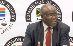 A screenshot of former head of Free State agriculture Peter Thabethe testifying at the Zondo commission on Friday, 16 August 2019. Picture: SABCDigitalNews/Youtube