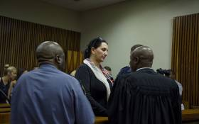Vicki Momberg at the Randburg magistrate's court on 28 March 2018 as she is sentenced for racial abuse of a police officer. Picture: Ihsaan Haffejee/EWN