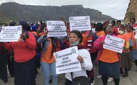 Cape Town community health workers take to the streets of the CBD on Wednesday, 25 November 2020 to demand for a R2000 COVID-19 danger allowance. amongst other concerns. Picture: Kevin Brandt/EWN