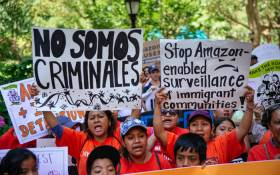 Protestors prepare to march to a building where Amazon owner Jeff Bezos owns property on 15 July 2019 in New York City. Picture: AFP