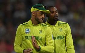 All-rounder Andile Phehlukwayo talks with Proteas skipper Faf du Plessis during their match against Sri Lanka in Cape Town on 19 March. Picture: @OfficialCSA/Twitter.