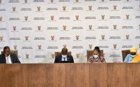 From L to R: Mineral Resources Minister Gwede Mantashe, Justice Minister Ronald Lamola, Minister of Defence and Military Veterans Nosiviwe Mapisa-Nqakula and Minister of Cooperative Governance and Traditional Affairs, Nkosazana Dlamini-Zuma at a briefing on 16 April 2020. Picture: GCIS.