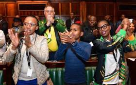 ANC's 20-year-old Itumeleng Ntsube (centre), the youngest NCOP member from Botshabelo in the Free State. Picture: Nthakoana Ngatane/EWN.