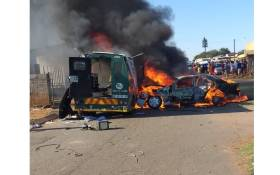 A cash-in-transit robbery in Katlehong, east of Johannesburg on 10 November 2018. Picture: @crimeairnetwork.