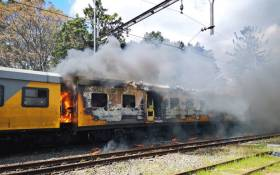A Metrorail train on fire in Firgrove, Cape Town. Picture: Supplied