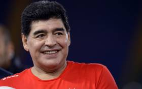 In this file photo taken in October 2016, Argentinian football legend Diego Armando Maradona is pictured prior to compete in the 'Match of Peace - United for Peace' charity football match promoted by the Schools for Encounter foundation at the Olympic stadium in Rome. Picture: AFP