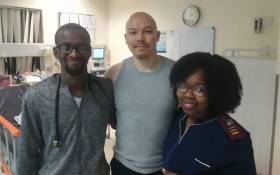 Actor Li Lau (centre) with hospital staff after sustaining an injury during a show at the National Arts Festival on 30 June 2019. Picture: Supplied