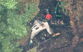 A screengrab of the crash site of a plane that was stolen. Picture: CNN