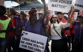 Numsa and South African Cabin Crew Association (Sacca) members picket at the SAA Airways Park in Kempton Park on 15 November 2019. Picture: Xanderleigh Dookey/EWN