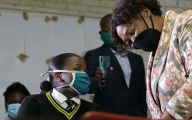 FILE: Basic Education Minister Angie Motshekga monitoring the start of matric exams at Sekano-Ntoane High School on Soweto on the morning of 5 November 2020. Picture: Twitter/@DBE_SA