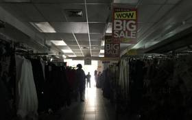 A clothing store in Claremont, Cape Town in darkness as load shedding kicks in. Picture: Kaylynn Palm/EWN