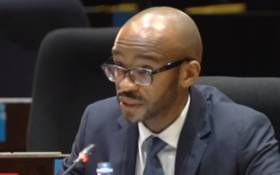 A screengrab of suspended PIC employee Victor Seanie testifying at the commission of inquiry.