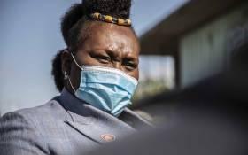 KwaZulu-Natal Health MEC Nomagugu Simelane-Zulu at the vaccination site by Moses Mabinde stadium in KwaZulu-Natal. Picture: Abigail Javier/Eyewitness News