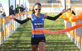 Cape Town runner Nolene Conrad wins the Ommiedraai 10km road race on 9 September 2018 in Kenilworth, Cape Town. Picture: @conrad_nolene/Twitter