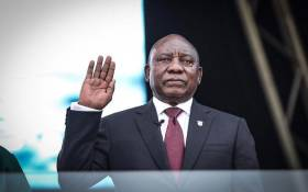 Cyril Ramaphosa takes the oath of office as the President of the Republic of South Africa at Loftus Versfeld Stadium in Pretoria on 25 May 2019. Picture: Abigail Javier/EWN
