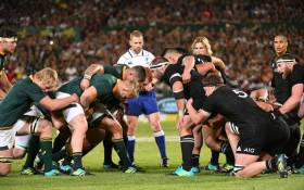 The Springbpks and the All Blacks get ready to scrum down in their Rugby Championship match at the Loftus Versfeld Stadium in Pretoria on 6 October 2018. Picture: @Springboks/Twitter