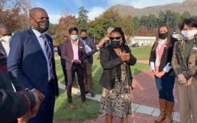 Health Minister Dr Zweli Mkhize (L) and Western Cape Health MEC Nomafrench Mbombo (R) on 2 June 2020 toured the Witzenburg Municipality which has been hard hit by the coronavirus. Picture: @DrZweliMkhize/Twitter.