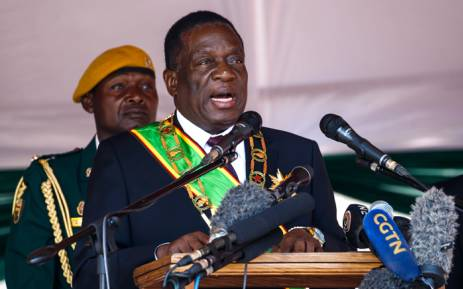 FILE: Zimbabwe President Emmerson Mnangagwa speaks during the Heroes Day commemorations held at the National Heroes Acre in Harare 13 August 2018. Picture: AFP