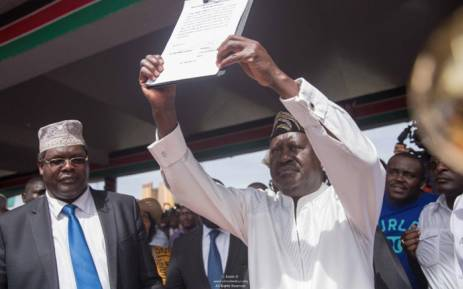 Kenya's opposition leader Raila Odinga during his symbolic presidential inauguration. Picture: @RailaOdinga/Twitter.