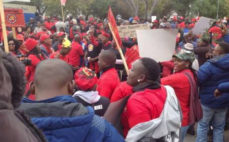 FILE: Eskom workers affiliated to NUM protesting outside the utility's offices at Megawatt Park on 14 June 2018. Picture: @NUM_Media/Twitter.