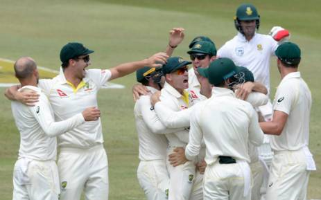 Australia celebrates the wicket of South Africa's Hashim Amla. Picture: @OfficialCSA/Twitter.