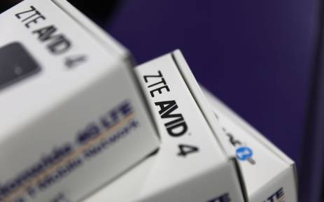 ZTE cellphones in their packaging. Picture: AFP