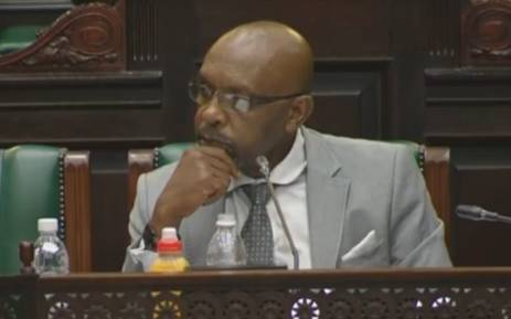 A video screengrab shows Vincent Smith listening to deliberations in Parliament.