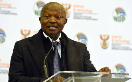 Deputy President David Mabuza speaks at the launch of the MeerKAT array in the Northern Cape. Picture: @PresidencyZA/Twitter