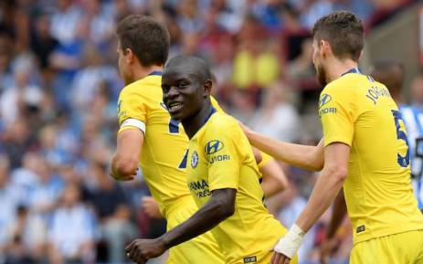 Chelsea's N'Golo Kante celebrates after scoring a goal against Huddersfield Town on the opening Saturday of the Premier League season. Picture: @ChelseaFC/Twitter.