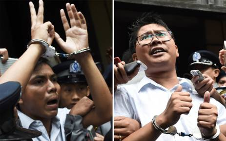 FILE: This combo shows journalists Kyaw Soe Oo (L) and Wa Lone (R) being escorted by police after their sentencing by a court to jail in Yangon on 3 September 2018. Picture: AFP.