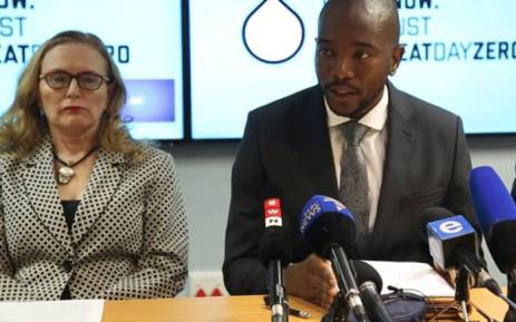 FILE: Western Cape Premier Helen Zille and DA leader Mmusi Maimane addressing the media about day zero on 7 March 2018. Picture: Bertram Malgas/EWN.